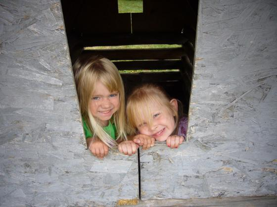 Emma and Sophie in the Playhouse