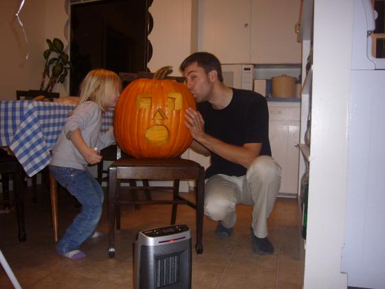Shad and Sophie with the Pumpkin