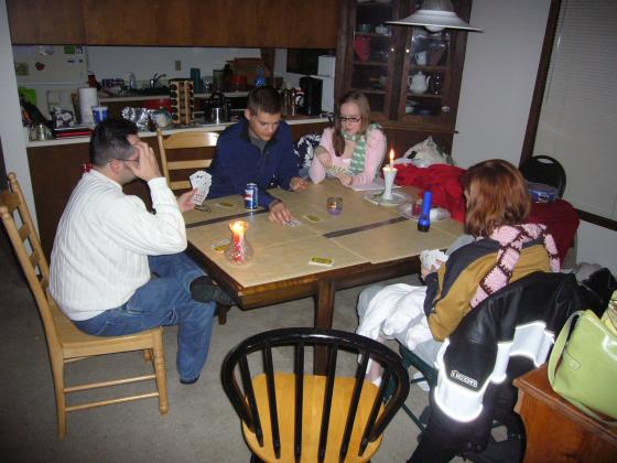 Playing cards during the power outage
