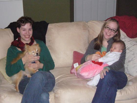Alex and Veronica with their babies