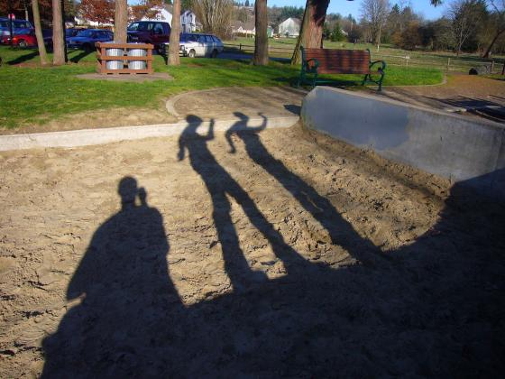 Alex and Becky having fun with shadows