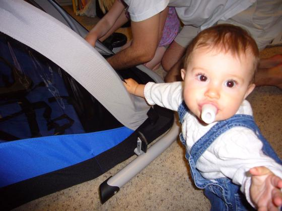 Lillie helping with the stroller