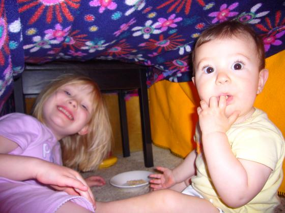 Sophie and Lillie in their fort