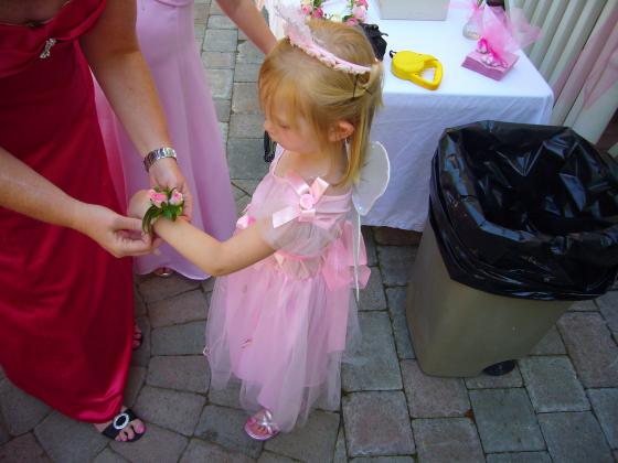 Sophie getting her Corsage