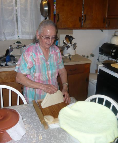 Abuela making tortillas