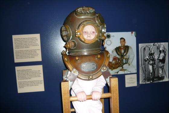 Sophie in a diving helmet