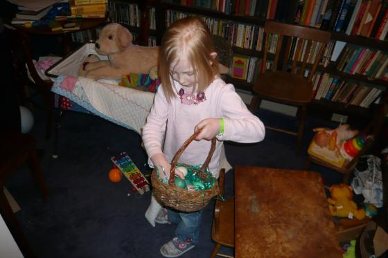 Sophie hunting eggs