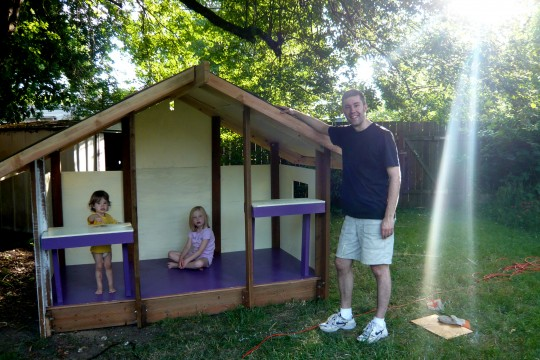 Shad and the girls with the playhouse