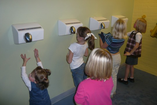 This was hilarious-- the girls used the hand dryers to dry out their shirts -- inside and out.