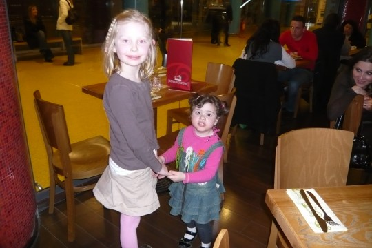 Sophie with a friend she made at dinner