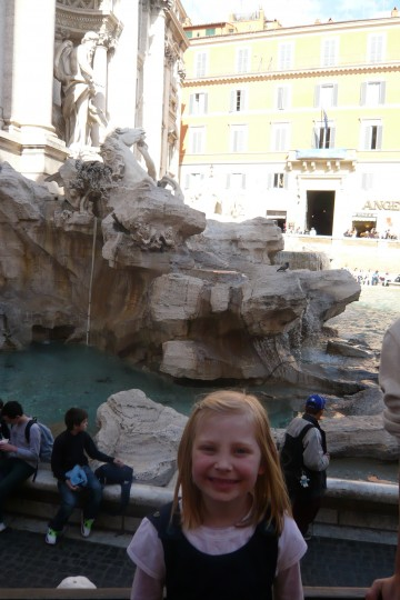 Sophie at Trevi fountain