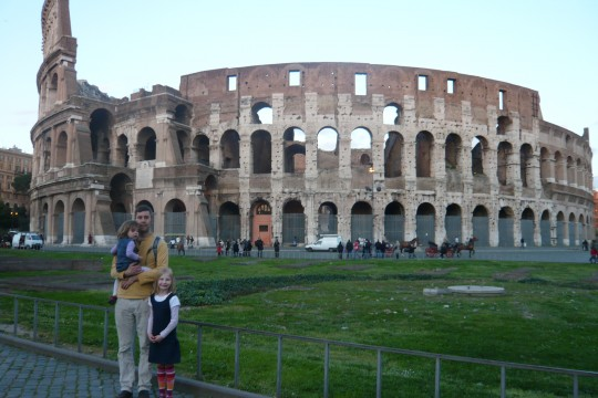 Shad and the girls in front of the Colosseum